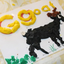 We used our Goat play dough mats for a textile letter activity.  You can download them for free right here.